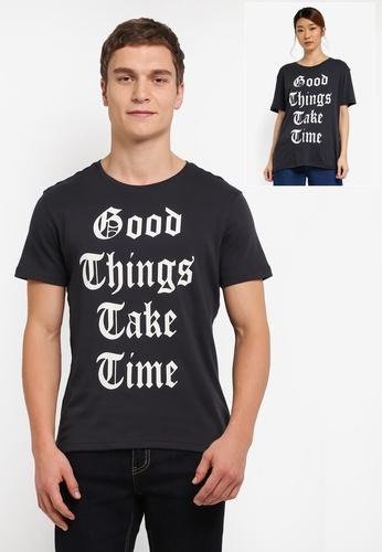 UniqTee grey Good Things Take Time Printed Tee UN097AA0SHE5MY_1