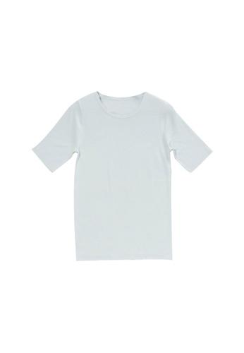 KLAPS green Round Neck Short Sleeves Top D6366AA55A38D2GS_1