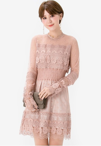 Yoco beige Lace Printed Mesh Dress C4E92AA225BBC3GS_1