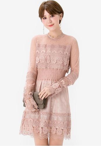 Yoco beige Lace Printed Mesh Dress C4E92AA225BBC3GS_1