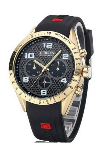 curren black and gold Curren 8167 Men's Sporty Rubber Strap Watch (Gold Black) CU537AC24SYXMY_1