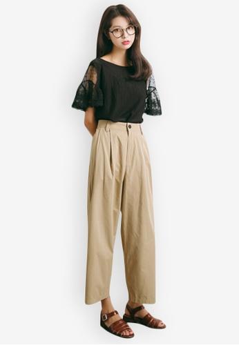 Sunnydaysweety black Mid Sleeve Lace Cuff Top 50EA3AA99B5A4AGS_1