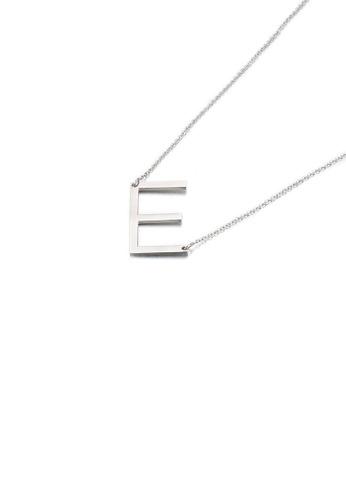 Glamorousky 銀色 簡約時尚英文字母E 316L鋼吊墜配項鏈 1788AAC98DC7BAGS_1
