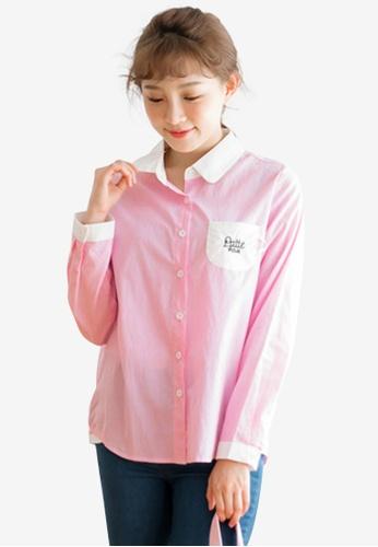 Sesura pink Cafe Latte Stripes Top 77C33AA434BB40GS_1