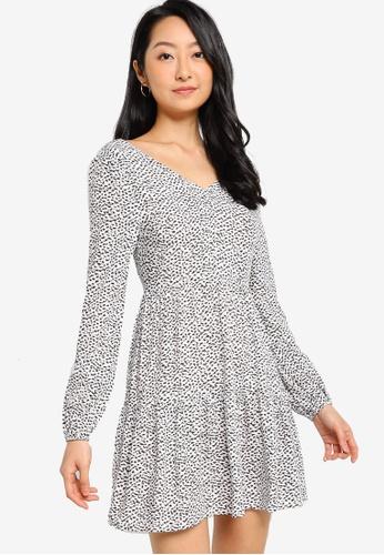 ZALORA BASICS white and multi Long Sleeves Tiered Dress 6956FAA1BCD154GS_1