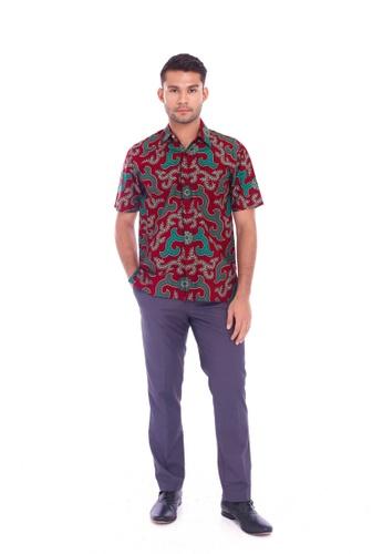 TUSCA red Eusoff Classic Batik Shirt F1629AA0F60586GS_1