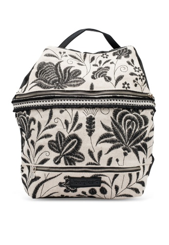 Desigual beige Embroidered African Inspiration Backpack 250AEACAF062F1GS_1