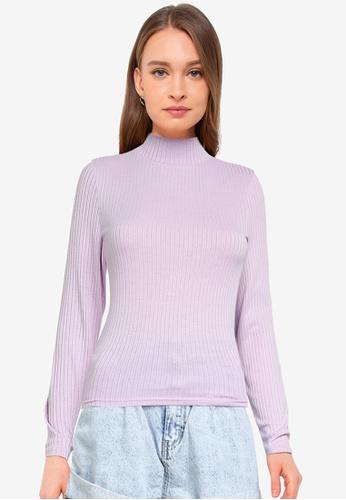 Cotton On purple Mila Mock Neck Long Sleeve Top E640CAA5368D23GS_1
