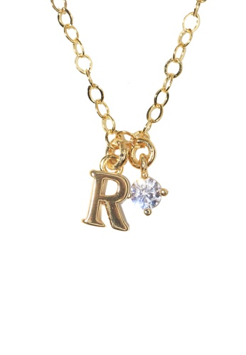 PSYNDROME gold Personalised Initial Letter Alphabet with Cubic Zircona Necklace - R E0008ACC99BDE0GS_1
