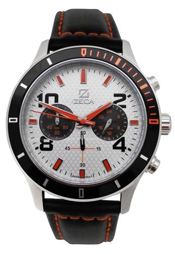ZECA black and white and orange Zeca Watches Men Fashion Leather Analog - 229M Black White ZE260AC12SJVSG_1