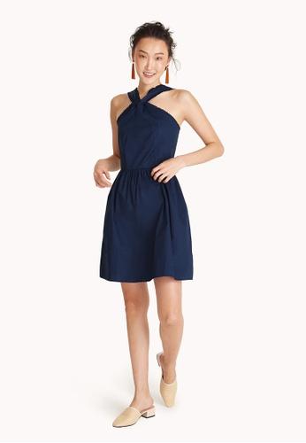 Pomelo navy Halter Neck Dress 3DD65AA89E328AGS_1