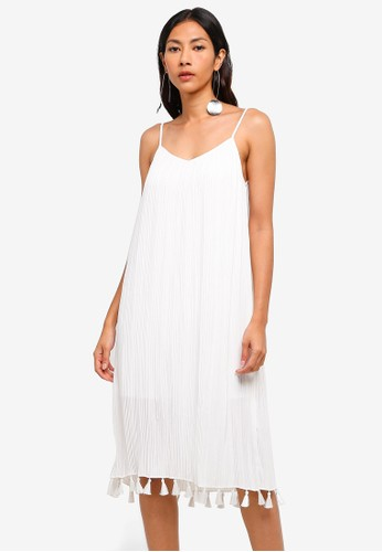 Hopeshow white Slip Dress With Tassel Ends A45E3AAC68A959GS_1