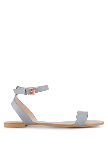 Velvet blue Scalloped Flat Sandals 5D183SHF429A9BGS_1