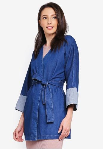 Zalia blue Denim Kimono Cardigan CA7DEAAB442C41GS_1