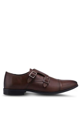 Burton Menswear London brown Brown Leather Monk Shoes A3803SHABDC471GS_1