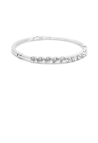 Glamorousky silver Elegant Bangle with Silver Austrian Element Crystals 15BBAAC2CF182EGS_1