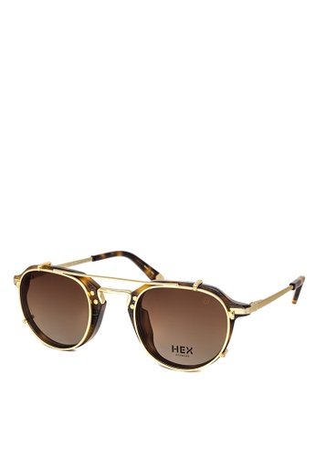HEX EYEWEAR gold and brown Businessman - Morgan - Optical with Clip-on - Made in Italy HE671AC2V1J3HK_1