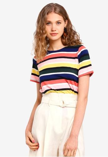 Dorothy Perkins 多色 Rainbow Curve Hem T-shirt E58D4AAEBB0B35GS_1