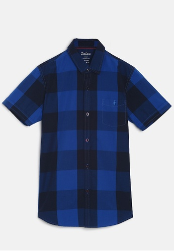 ZALZA blue Snow Drop 100% Organic Cotton Woven Boys Short Sleeve Shirt - Ultramarine BACBBKA07B71EBGS_1