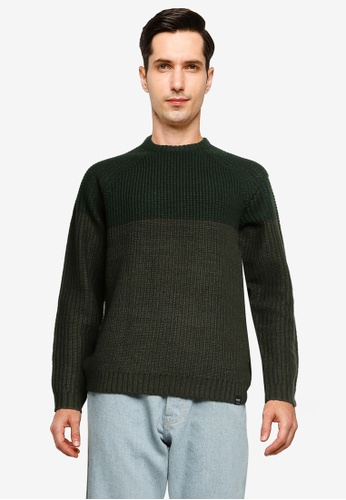 Only & Sons green Kelvin Structure Crew Neck Knit Sweater E3012AA29BF023GS_1