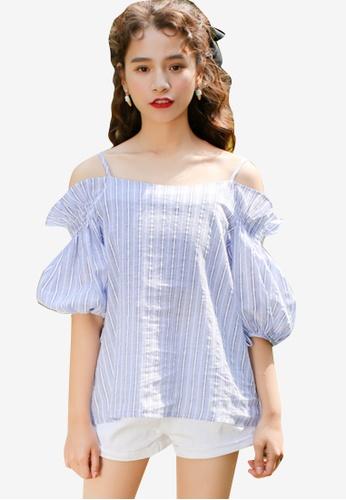 Shopsfashion blue Split Shoulder Bubble Blouse 4CF88AAE334272GS_1