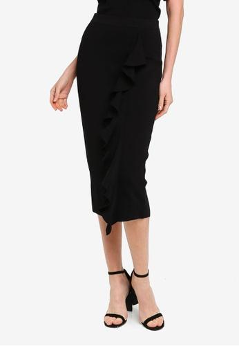 FORCAST black Demi Ruffle Midi Skirt 18BAAAA1328B0AGS_1
