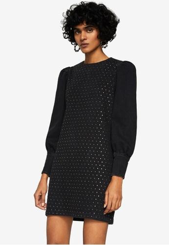Mango black Rhinestone Denim Dress MA193AA0SM90MY_1