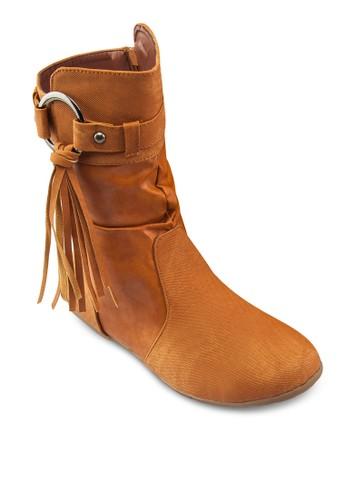 Nina 扣環流蘇中筒靴, zalora 男鞋 評價女鞋, 鞋