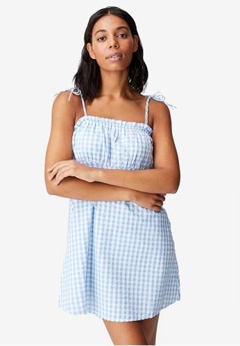 Cotton On blue Woven Matilda Tie Strappy Mini Dress DFC28AAD0E6D9CGS_1