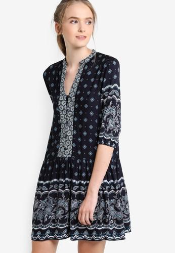 印花腰飾esprit 香港連身裙, 服飾, 印花時代