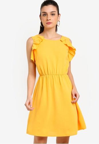 ZALORA 黃色 無袖荷葉飾短洋裝 8DE62AA4268866GS_1