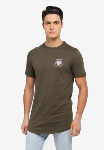 River Island green Chest Print T-Shirt 63F4FAA9F5616DGS_1