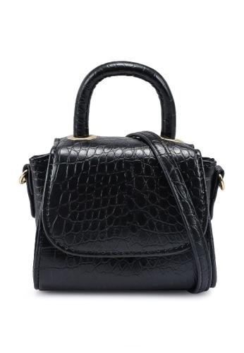 MISSGUIDED black Mini Top Handle Croc Cross Body Bag 9688DAC8FFA516GS_1