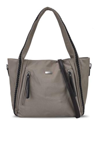 NUVEAU brown Premium Oxford Nylon Tote Bag Set of 2 9B53FAC9C6ED3EGS_1