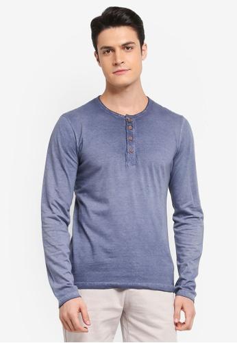 Indicode Jeans 海軍藍色 長袖素色復古T恤 CC4E2AAAA6DA61GS_1