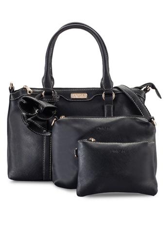Unisa black 3-in-1 Saffiano Top Handle Bag Set UN821AC96OYTMY_1