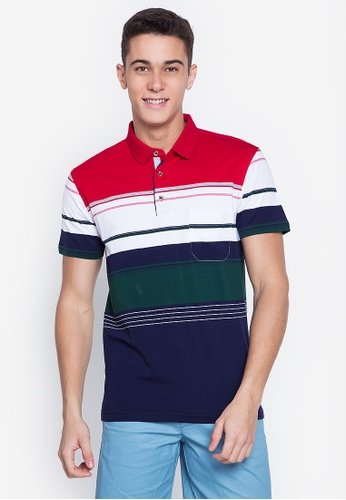 MICK + MARTY red Stripe Pocket Polo Shirt 32F06AA474C22AGS_1