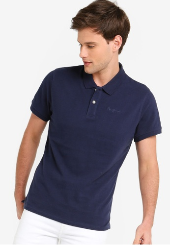 021c33412288a Pepe Jeans navy Vincent Basic Polo Shirt 845B3AA40F0865GS 1