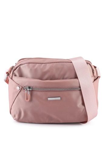 NUVEAU pink Lightweight Nylon Sling Bag F9BA4ACC7E162DGS_1