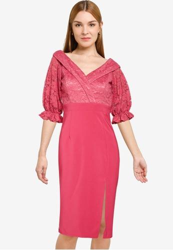 Little Mistress pink Rose Bardot Midi Dress 0B4C3AA650F347GS_1