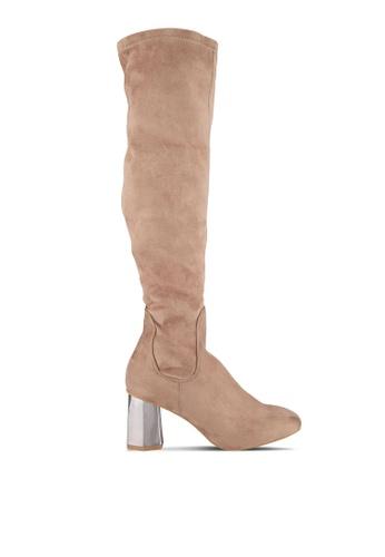 LOST INK brown Tara Low Hex Heel High Boots LO238SH0SCMDMY_1