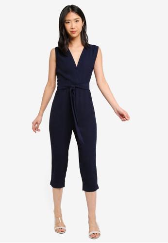 ZALORA BASICS navy Basic V-Neck Tie Waist Jumpsuit D8FF6AA01076E2GS_1