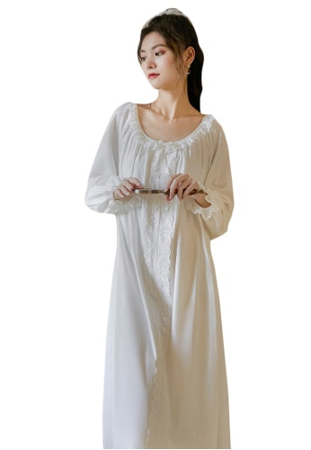 LYCKA white LML1317-Lady One Piece Long Sleeve Lace Sleepwear-White 8EF59AA5189F64GS_1
