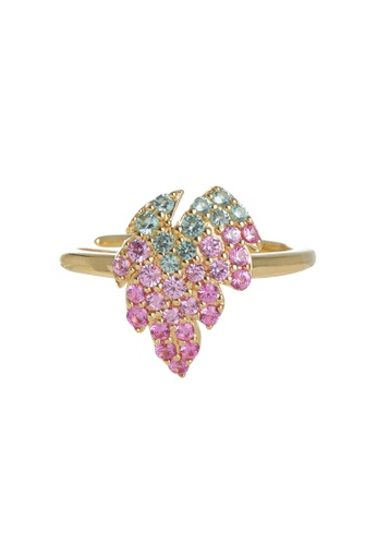 Arte Madrid pink and green and gold Arte Madrid Tropical Dream Sweet Grape Ring (Free Size) 13409AC0CA18C6GS_1