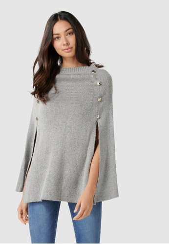 Forever New grey Fiona Knitted Button Poncho F4468AA1B4990CGS_1