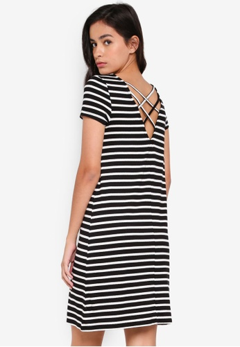 ONLY black Bera Back Lace Up Dress CB104AA615CE6BGS_1