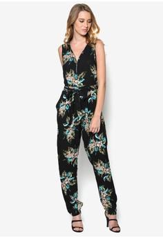 Tropical Floral Print Zip Jumpsuit