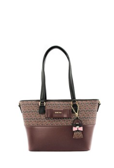 SEMBONIA  SEMBONIA Coated Canvas Trimmed Leather Tote Bag (Maroon)
