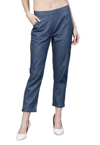 RedCheri 藍色 蓝色牛仔锥形卷起裤 EF53FAA3E5B345GS_1