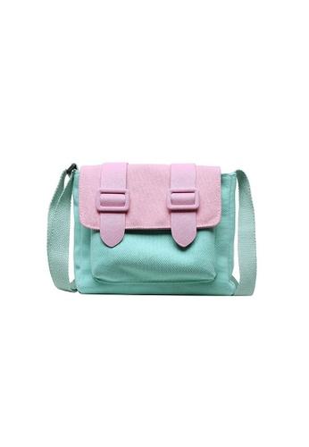 A FRENZ green Mini Colorblock Canvas Flap Crossbody Bag 8F595ACADEA126GS_1